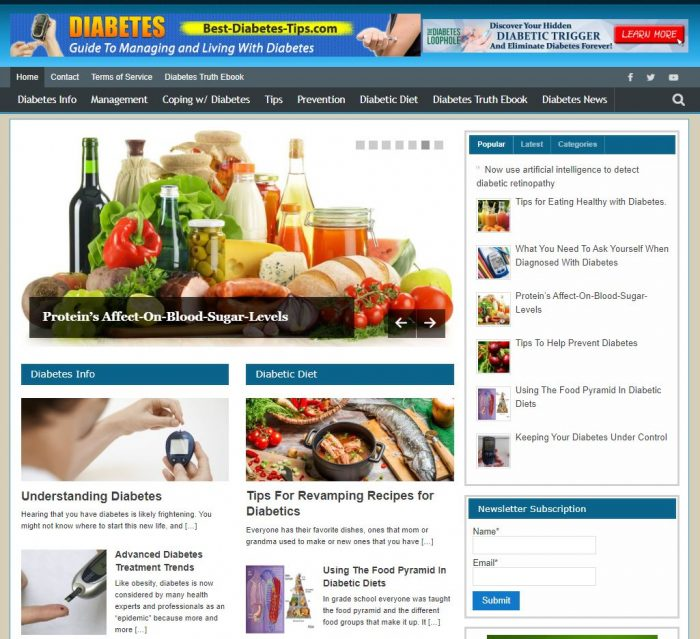 Diabetes tips and treatments website business
