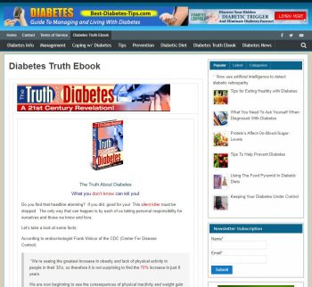 Diabetes Tips Ebook Website Business
