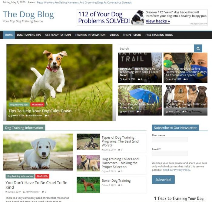 Dog training info turnkey website