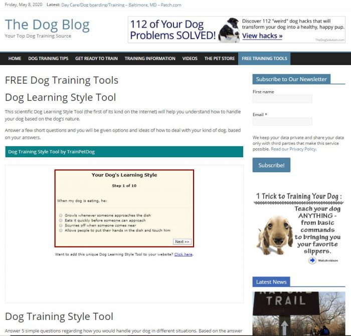 puppy training tips, free tools turnkey website