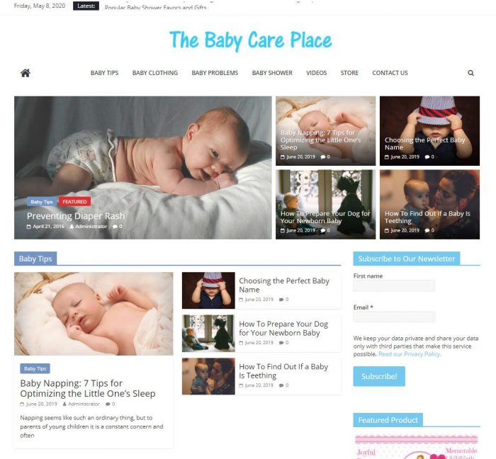 Baby care tips turnkey website business