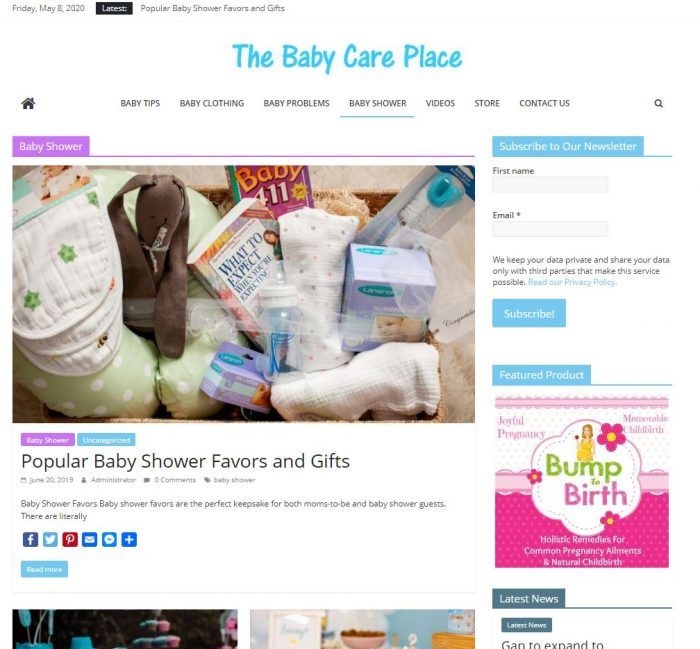 Baby care tips and resource niche website