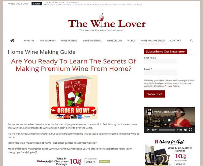Wine making guide turnkey website business
