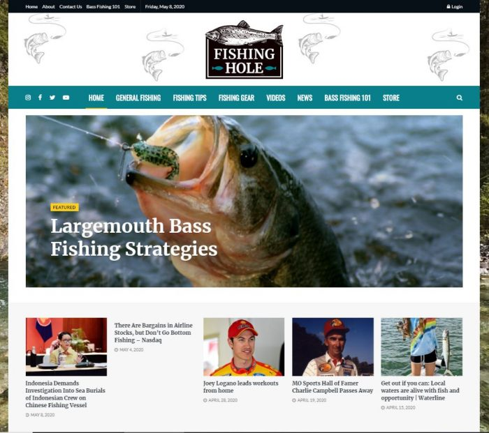 Angling, fishing turnkey website