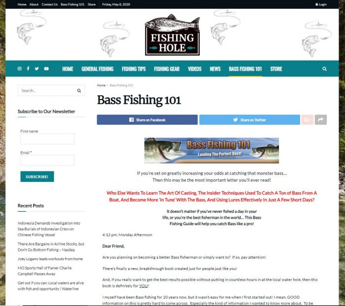 fishing, angling website business