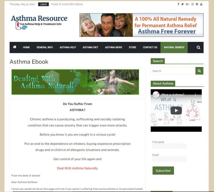 Asthma tips turnkey website with natural remedy ebook