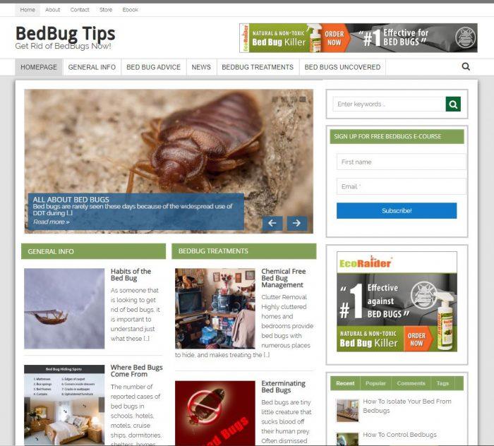 Bed Bug Tips Turnkey Website