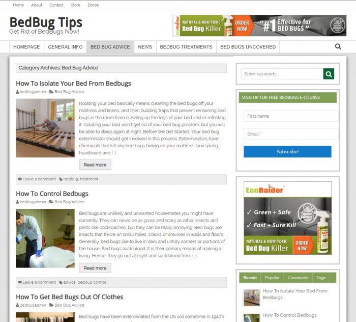 Bed Bug Tips Website