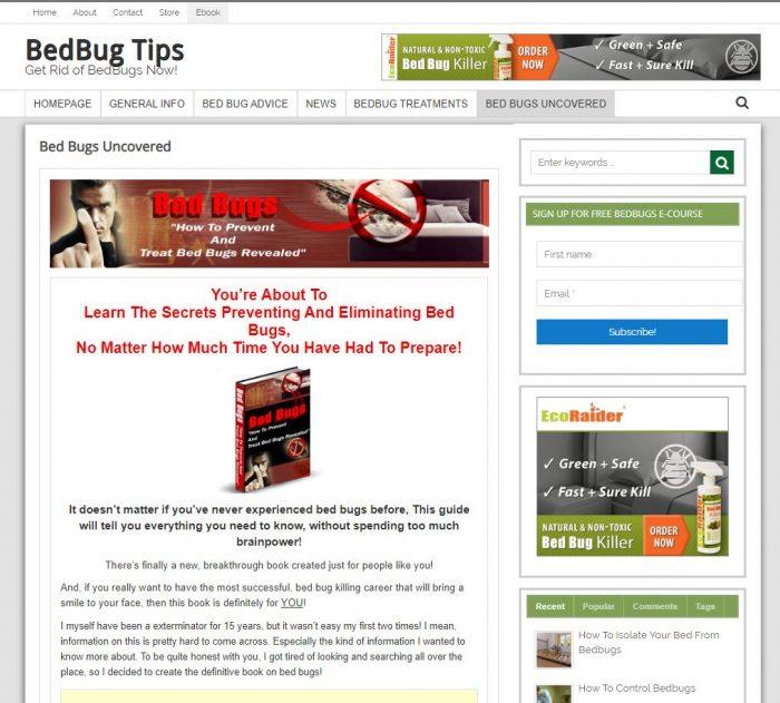 Bed Bugs Turnkey Website Ebook