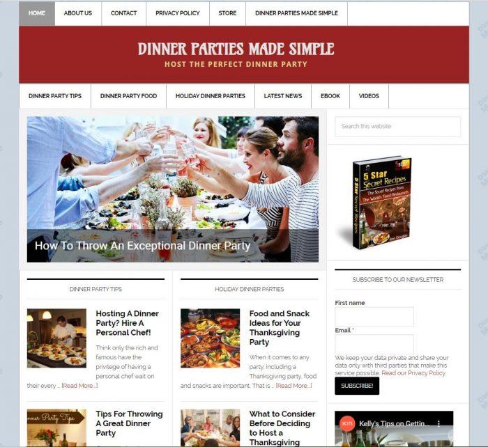 Dinner Party Tips Turnkey Website