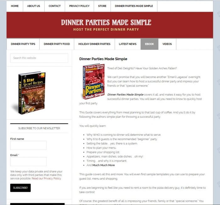 Dinner party advice turnkey website ebook